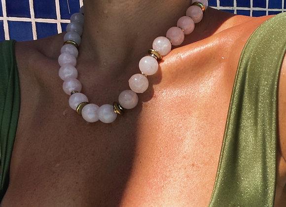 Big Love Necklace in Rose Quartz