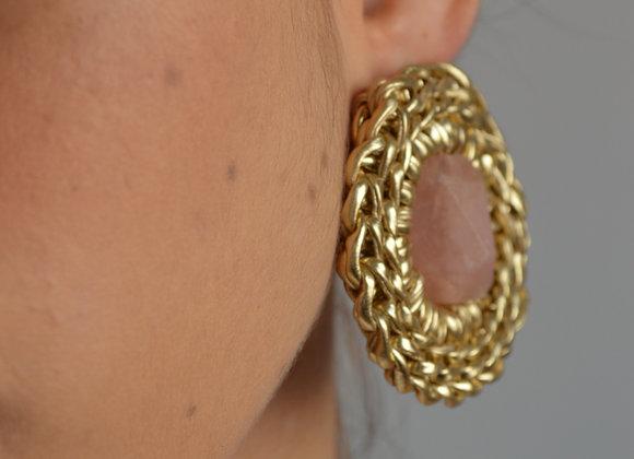 Brinco 'NÓ' Quartzo Rosa - 'NÓ' Earrings in Rose Quartz