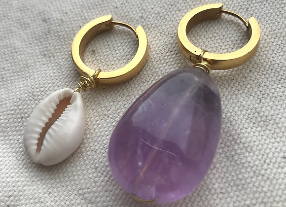 Amethyst Earrings ( gold )