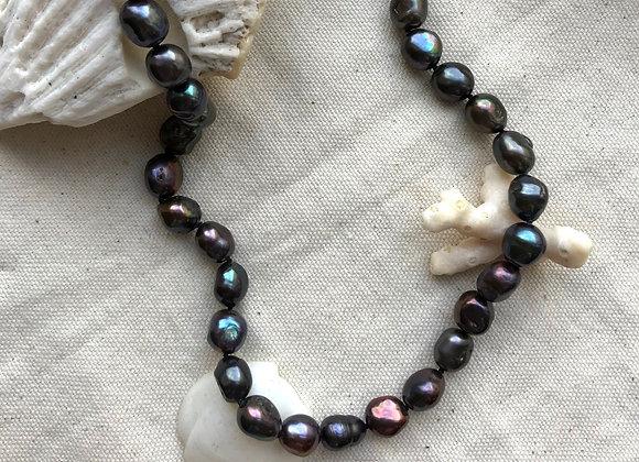 Black Aqua Pearl Necklace