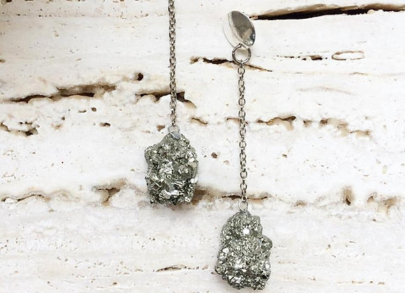 Raw Pyrite Earrings - Pair