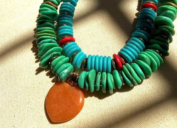 Tropical Love Necklace in Turquioise
