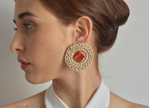 Brinco 'NÓ' Jaspe Vermelha - 'NÓ' Earrings in Red Jasper