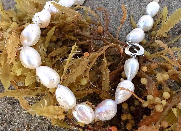 Aqua Pearl Necklace - Large Pearls