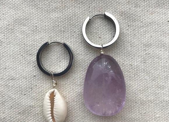 Amethyst Earrings ( silver )