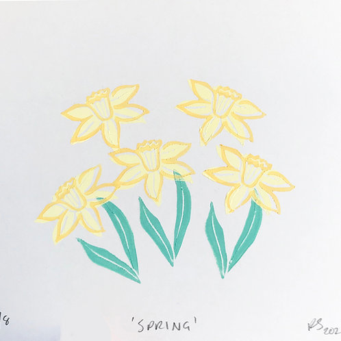Spring Block Printed Daffodils