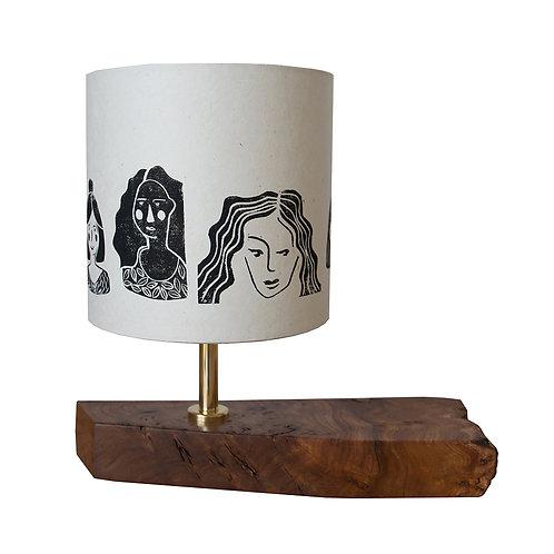 'Women' Block Printed Lampshade, handmade Elm Base