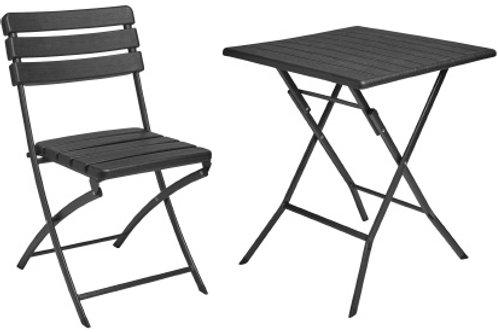 Sedia e tavolo pieghevole in HDPE colorenero effetto legno.