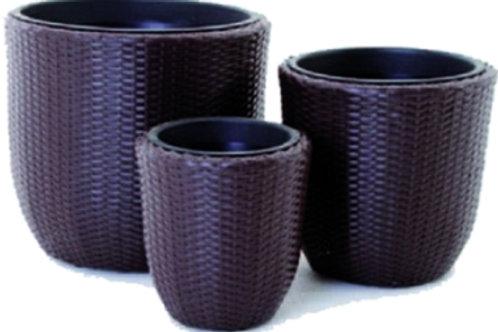 Set 3 vasi in polirattan marrone.