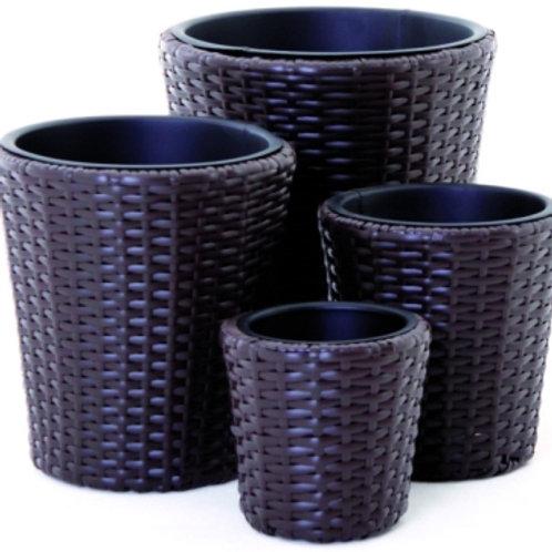 Set 4 vasi in polyrattan marrone.