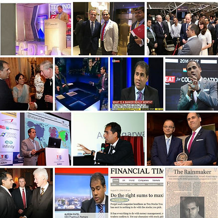 Alpesh Patel Pipspredtor founder in a collage of fintech events around the world including BBC