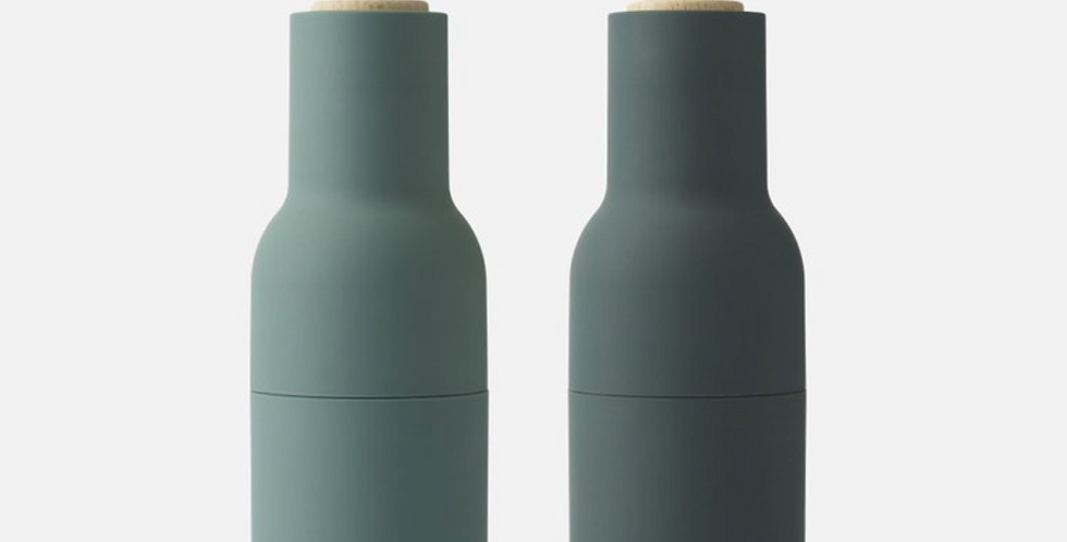 bottle grinder set - dark green with beech wood