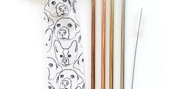 love your dog reusable straw set