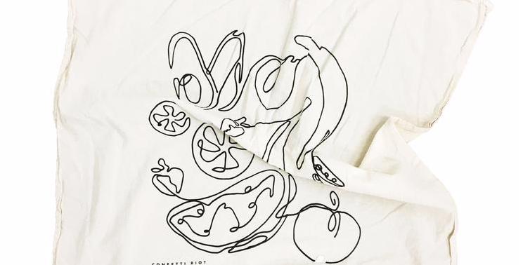 fruits & veg tea towel