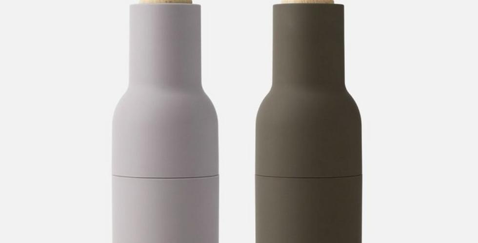 bottle grinder set - hunting green/beige with beech wood