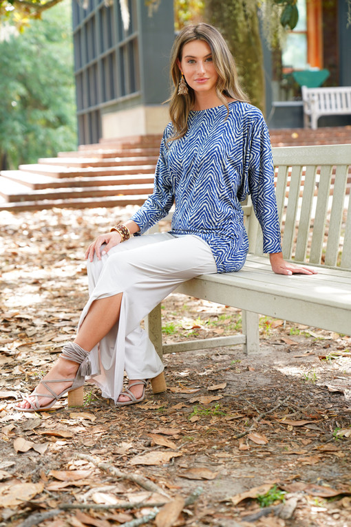 3/4 Slv Tiffany Top in Navy Chevron paired with the Kinsley Pant in Pearl