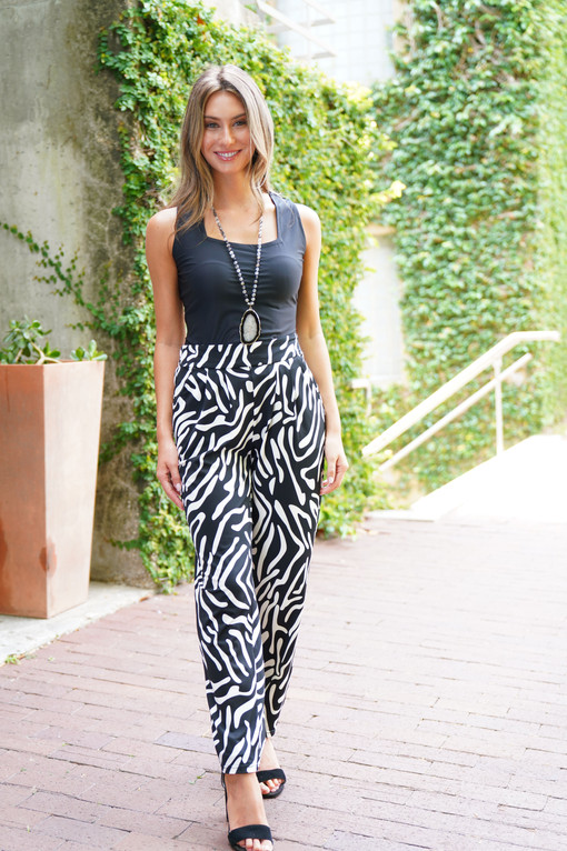 SL Charlotte Top in Solid Black paired with the Hope Pant in Black/White Zebra