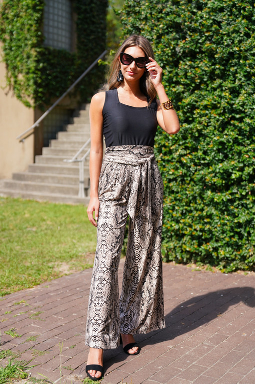 SL Charlotte Top in Solid Black paired with the Kinsley Pant in Pearl Snake and the Kelly Belt in Pearl Snake