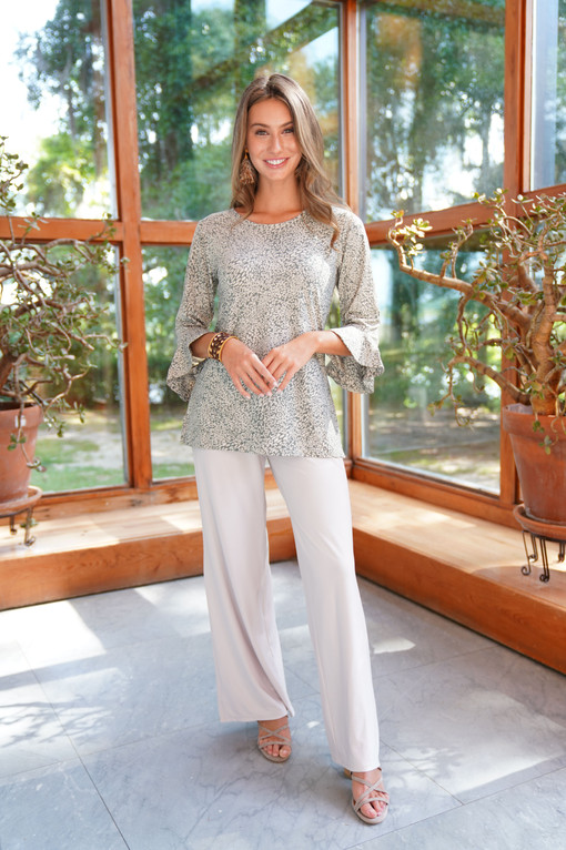 3/4 Slv Susan Top in Sage Lynx paired with the Kinsley Pant in Pearl