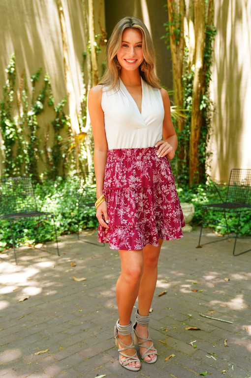 SL Shannon Top in Solid Pearl paired with the Savanah Skirt in Bordeaux Rosa