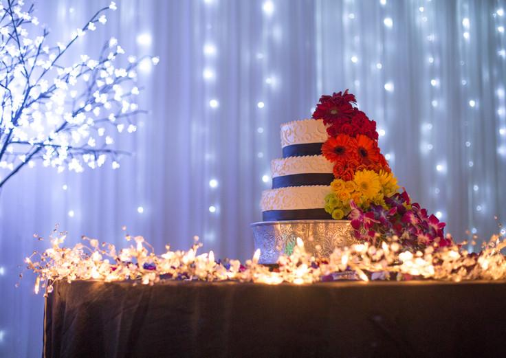 Wedding Cake with String Light Backdrop