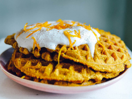 Sprouted Wheat, Seed & Millet Pumpkin Waffles