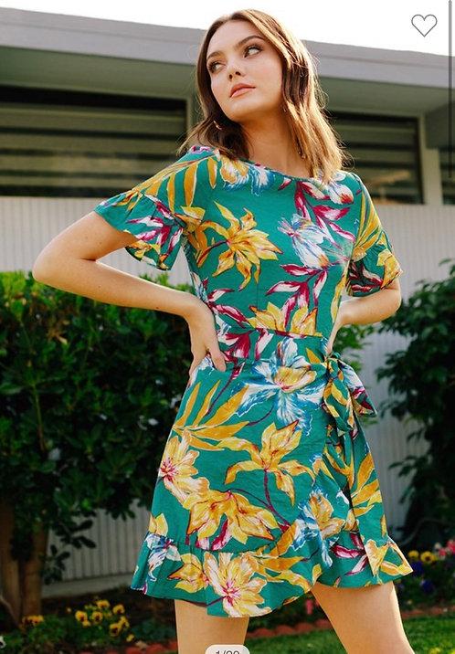 Green Tropical Wrap Dress