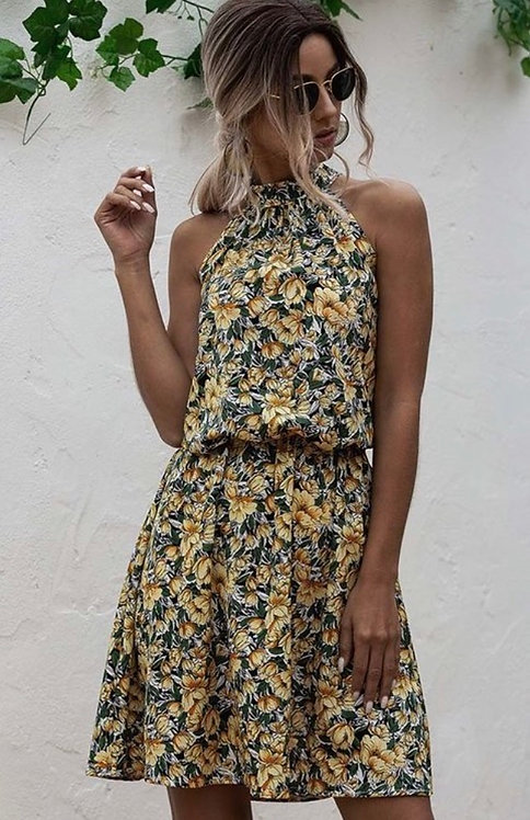 Yellow Floral Halter Dress