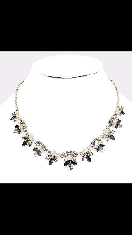 Gem Leaf Necklace - Black