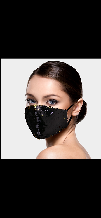 Black / Gold Super Sequin Mask