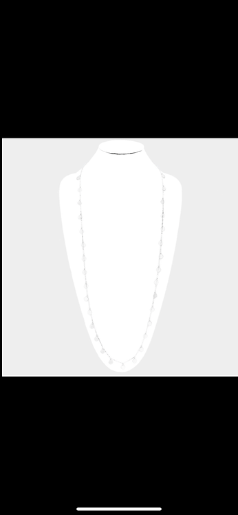Long Metal Crcle Necklace - Silver