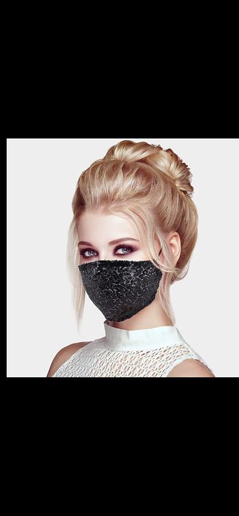 Sequin Adjustable Mask - Black