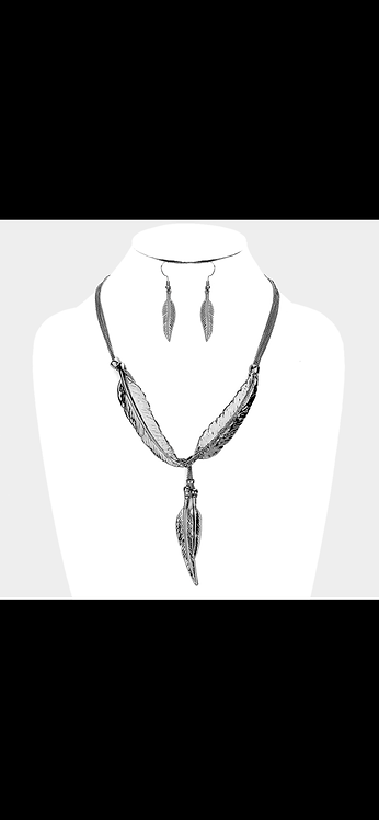 Multi Leaf Statement Necklace - Gunmetal