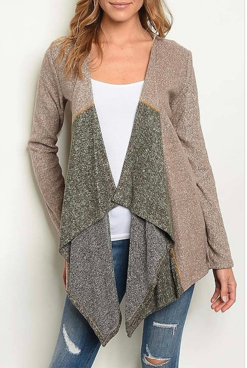 Taupe Olive Open Cardigan