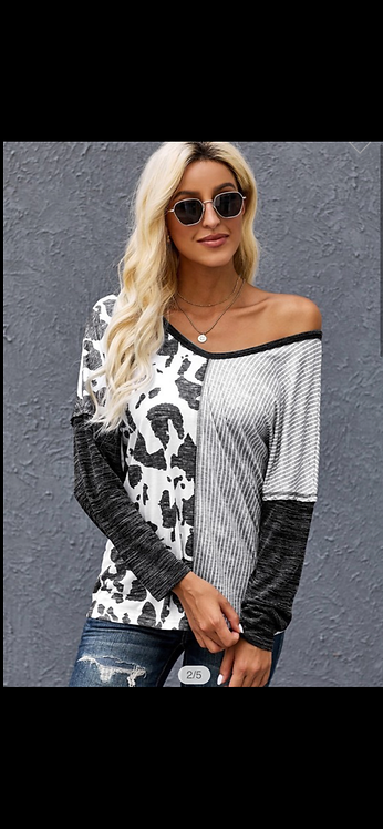 Wide Neck Spots and Stripes Long Sleeve
