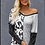 Thumbnail: Wide Neck Spots and Stripes Long Sleeve