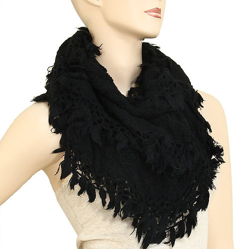 Feather Infinity Scarf - Black