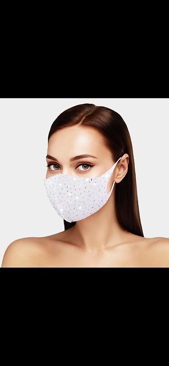 Bling Face Mask - White AB