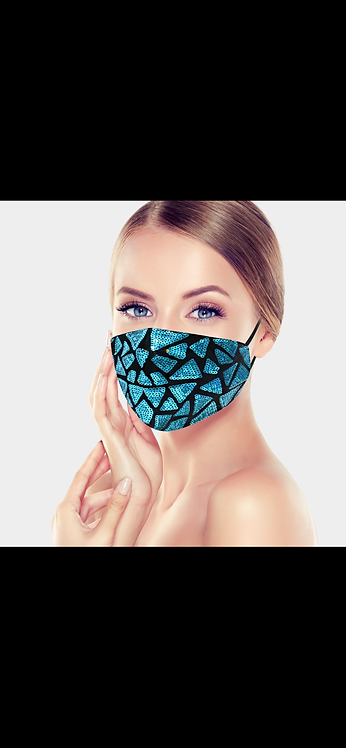 Triangle Sequin Mask - Blue