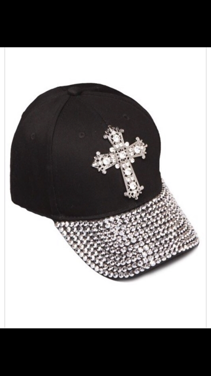 Cross Embellished Hat - Black
