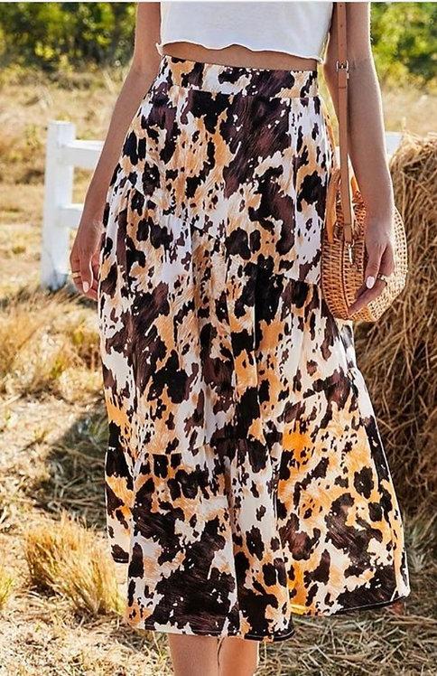 Western Leopard Midi Skirt
