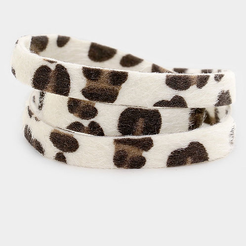 Leopard Wrap Bracelet - White