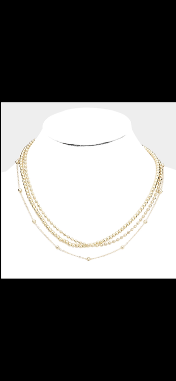 Layered Ball Metal Necklace - Gold