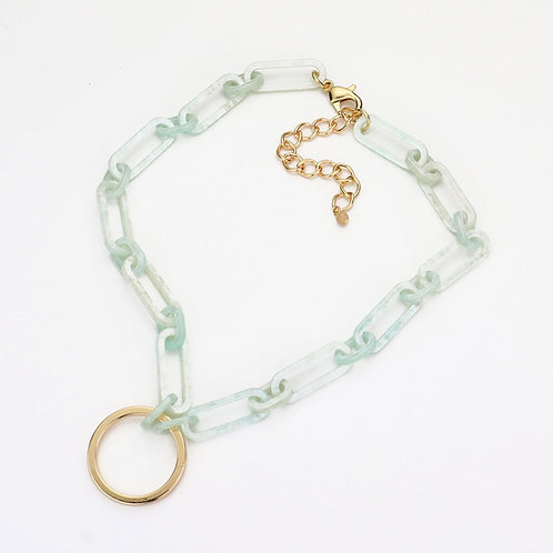 Circle Marble Necklace - Mint