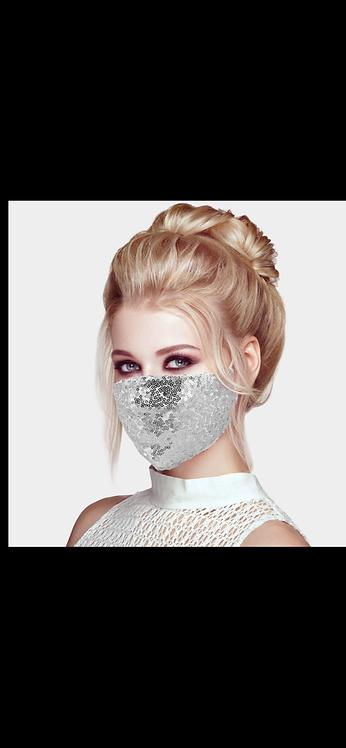 Sequin Adjustable Mask - Silver