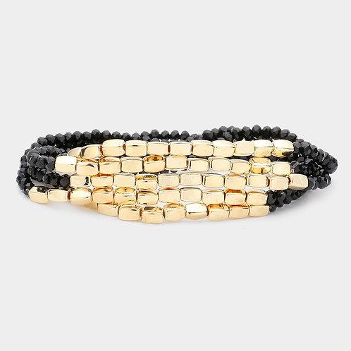Beaded Metal Bracelet - Black