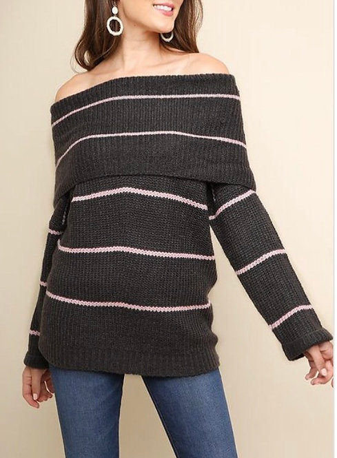 Stripe Off the Shoulder Sweater
