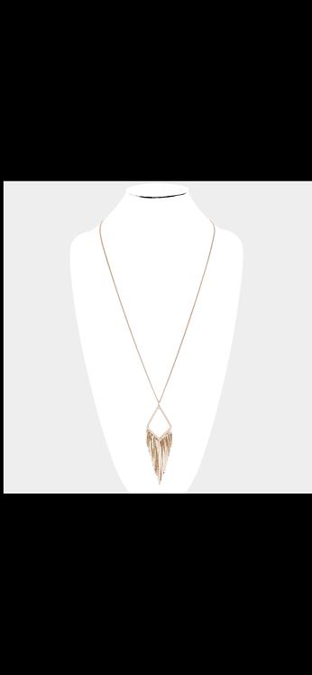 Metal Fringe Necklace - Gold