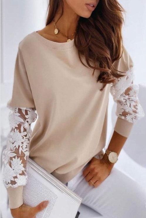Taupe Crochet Sleeve Sweatshirt