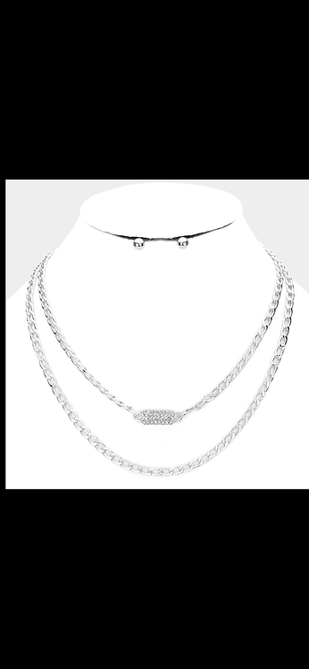 Pave Link Layered Necklace - Silver
